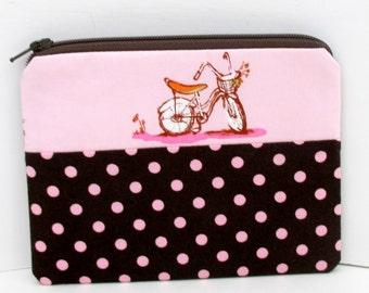Small Zipper Pouch, Pink Retro Bike, Heather Ross Bicycle Fabric