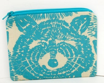 Raccoon Small Zippered Pouch, Coin Purse, Turquoise Animal Face, Alexander Henry Fabric