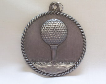 PERSONALIZED GOLF MEDAL w/ yellow neck ribbon goldtone