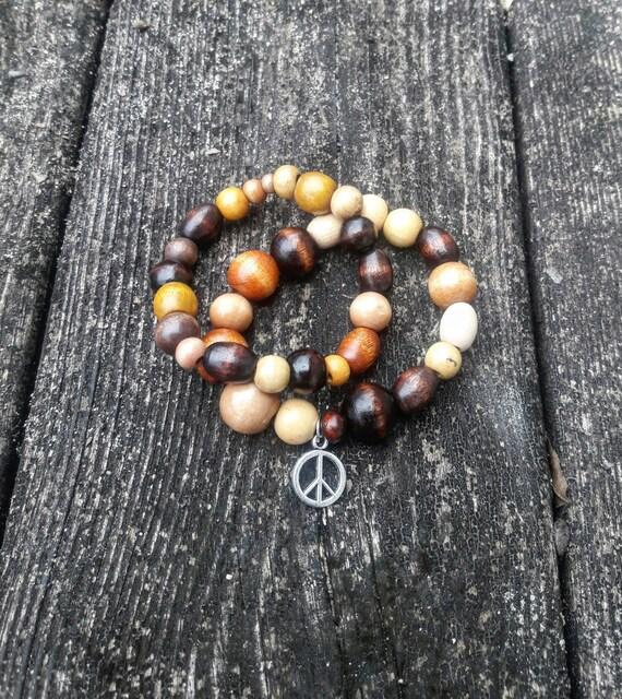 2pc Multi brown peace stretch bracelet
