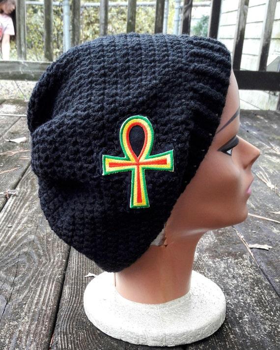 Black Rasta ankh slouch beanie hat