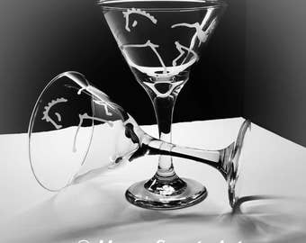 4 Custom Etched 9.25 oz Martini Glasses-  Choose HORSE ART-Dressage,Hunter Jumper,Friesian,Reining, Fjord, Saddlebred, Standardbred etc