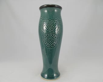 Tall, Slender Ceramic Pilsner with Celtic Knot Design, Teal Blue Gloss, Dinnerware Tumbler, Home Bar Accent, Festival Costume. Celtic Gift