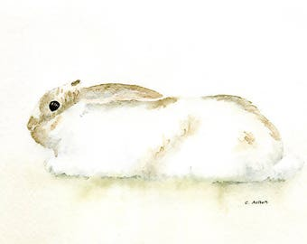 Original Painting of a Rabbit 5 x 7 Watercolor