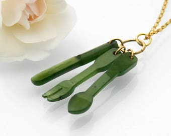 Vintage Charm Pendant | Nephrite Jade Cutlery Set | Jade Knife, Fork, Spoon | Gift for a Gourmet  | Carved Green Jade Charms - 20 Inch Chain