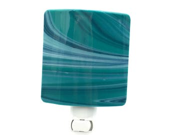 Night Light, Aqua Blue & Navy, Contemporary Design Art Glass