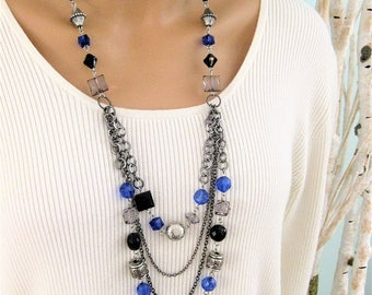 Long Black Beaded Necklace, Long Blue Beaded Necklace, Beaded Necklace, Black Necklace, Long Beaded Necklace, Black and Blue Necklace, N356