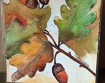 Watercolor Leaves and Acorn Autumn Painting