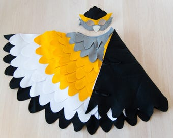 Kids Bird Costume, Bright Bird Costume, Wing Cape and Mask Kids Dress up Toy, Girls and Boys, Toddlers