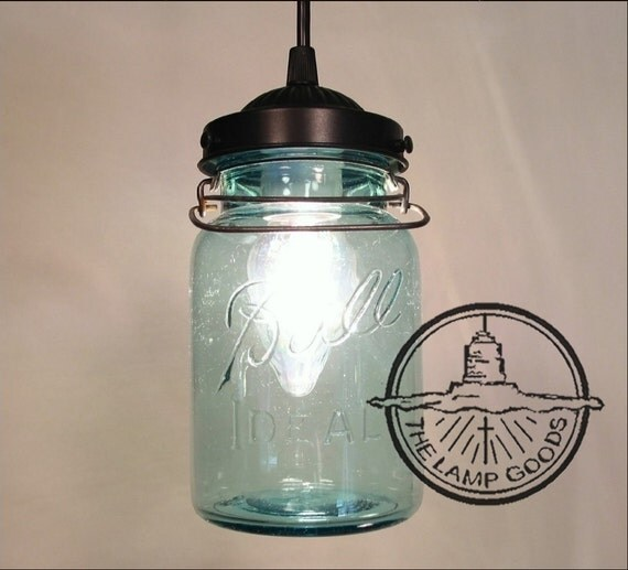Mason Jar Kitchen Lighting: Vintage BLUE Canning Jar PENDANT Light Farmhouse Chandelier