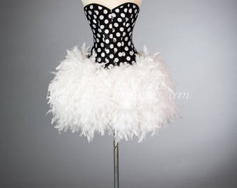 Size Small Black and White Polka Dot Burlesque Feather Corset Dress READY TO SHIP