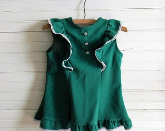 Girls Vintage Top, Vintage Shirt, 1980s Green Ruffled Topp, Sleeveless Top, Tunic Top, Girls Vintgae 80s Clothing, Size 10, Emerald Green