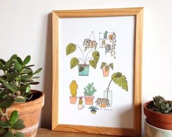 Plants posters, urban jungle illustration, plants, succulents, cactus, monstera, posters for plant lovers, plants art print