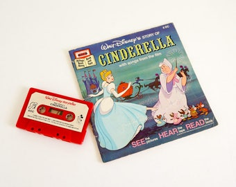 Vintage 1970s Childrens Book / Walt Disney Cinderella Book and Cassette with Songs From Movie Tested Working / Fairy Tale See Hear Read