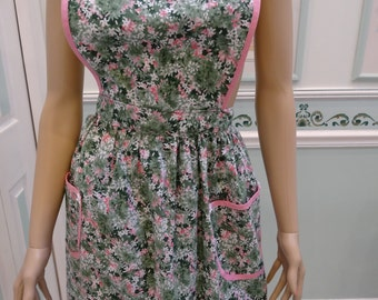 MODERN SPRING APRON, pink, green and white print full style,cowl neck , all pink bias tape trim, two pockets