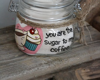 Hand Painted Storage Glass Jar wedding favor gift for lovers in wedding or anniversary You are the sugar