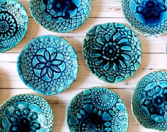 Holiday decorations Christmas presents House warming gift Turquoise bowl Serving Housewares decoration Ceramic bowls