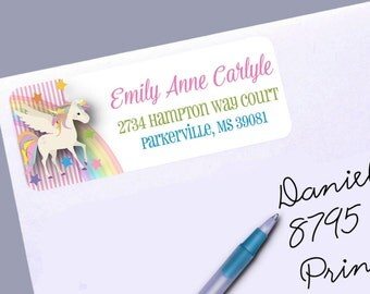 Return Address Labels, Magical Unicorn, Rainbows, Pink Stripes, Patsel Colors, 30 Labels to the Sheet