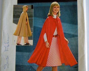 Simplicity 6839 Jiffy Misses Unlined Cape In Two Lengths With or Without Hood One Size UNCUT
