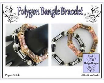 Beading Pattern, Tutorial, Bangle, Bracelet - POLYGON