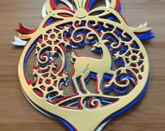 10 Deer Ornament Die Cuts / Foil / Christmas / Embellishment / Scrapbook /