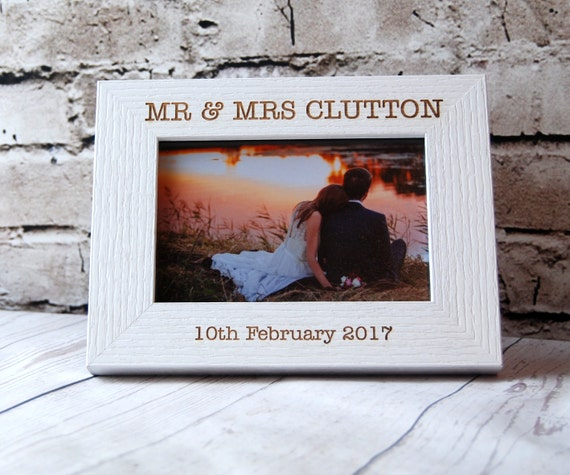 Engraved Wooden Wedding Photo Frames : Personalised Wedding Photo Frame ~ Engraved Wooden frame ~ Wording of ...