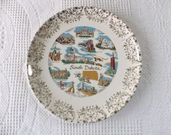 Vintage South Dakota Souvenir State Plate with Gold Filigree Border Decorative Collector Travel Vacation Retro Wall Decor  Ask a question