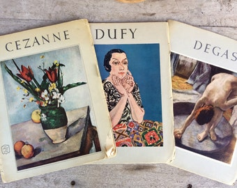 Three 1952 - 1954 vintage art books by Harry N. Abrams, Masterpiece artist color plates, Cezanne Dufy Degas art books by Abrams