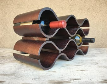 Midcentury Modern bentwood wine rack, 10 bottle, Mid Century decor, Modern decor, kitchen decor, wine lover gift, bent wood wine holder