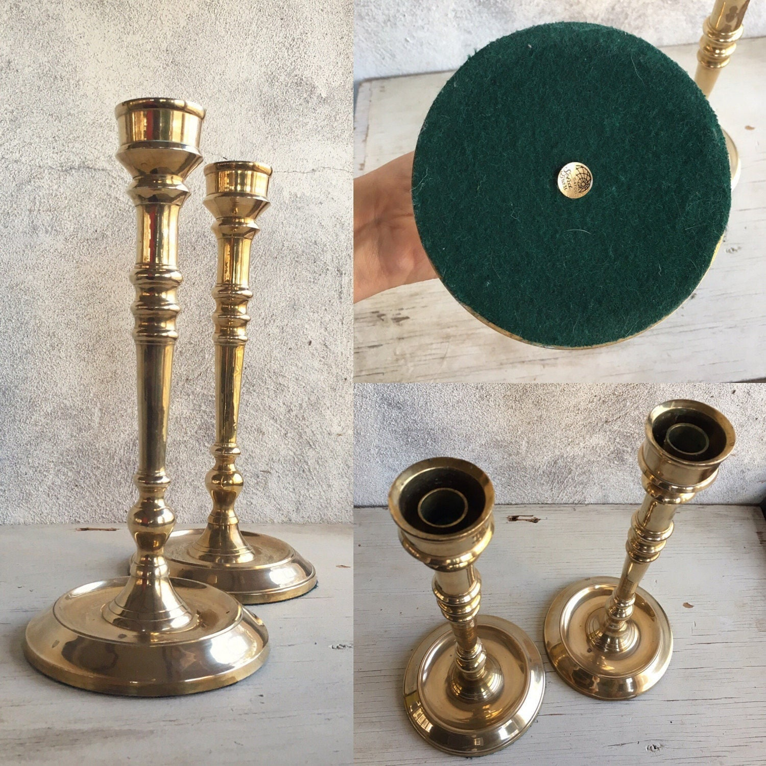 Tall vintage brass candlesticks candle holder holiday