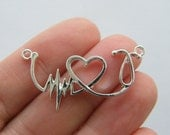 4 Heart beat heart stethoscope connector charms silver plated MD89