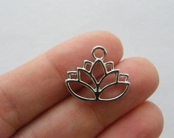 4 Lotus flower charms antique silver tone F183