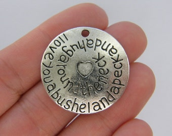 2 I love you a bushel charms antique silver tone M805