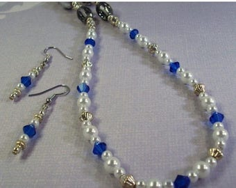 On Sale White Pearl Necklace / Blue Swarovski Crystals  and Earrings