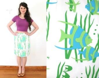 Vested Gentress Skirt / Vintage Vested Gentress 1960s 1970s Novelty PrintTropical Fish Skirt Skort