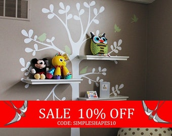 Sale - Tree Wall Decals - The ORIGINAL Shelving Tree with Birds