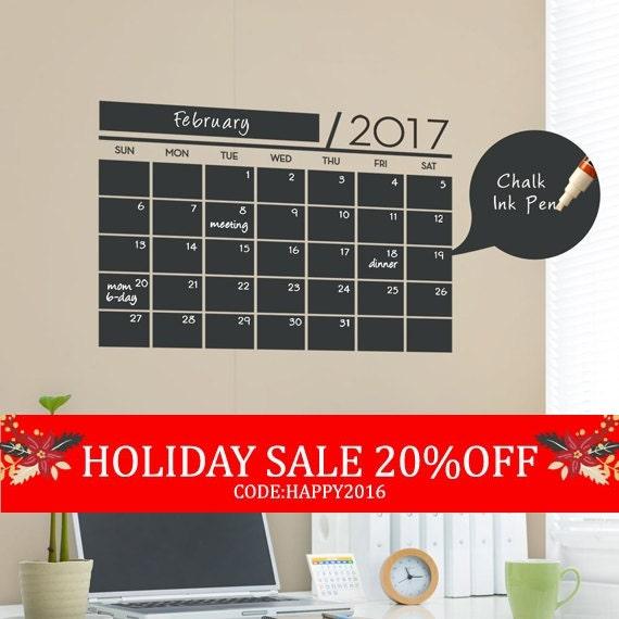 Holiday Sale - Chalkboard 2017 Wall Calendar - Vinyl Wall Decals - 2017 Calendar