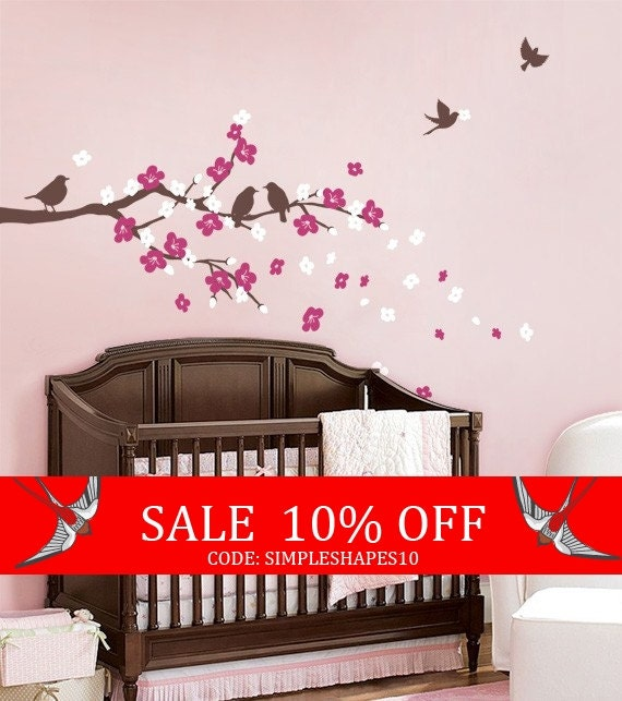 Sale - SALE Today ONLY! Use Coupon Code SIMPLESHAPES10 for 10% off - Cherry Blossom Branch with Birds - Kids Vinyl Wall Sticker Decal Set