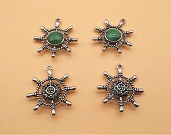 Gemstone Rudder Charms Helm Charms - Antique Silver, Hollow Carved Charm, Gemstone Charm, Metal Charm, Green Gemstone, Green Rhinestone