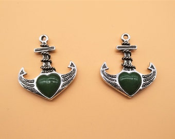 Gemstone Anchor Charms - Heart Charm, Antique Silver, Hollow Carved Charm, Gemstone Charm, Metal Charm, Green Gemstone, Green Rhinestone
