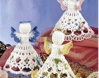Thread Crochet Pattern - Christmas Angels Tree Topper Decorations Tree Xmas Holidays Ornaments