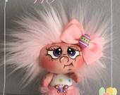 """OOAK Artist Miniature Cloth Pocket EASTER Rag Doll """"Peony""""  3 1/2"""" high!"""