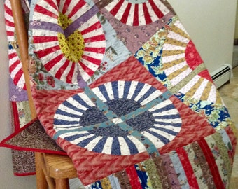 Quilt-Red, Brown, Yellow, Blue- modern