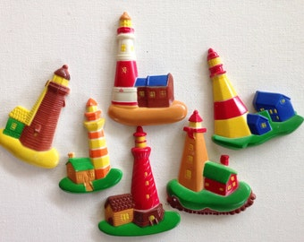 6 vintage nautical lighthouse magnets!