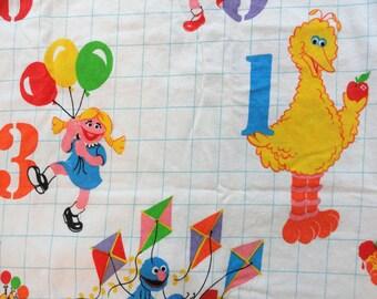 "Sesame Street twin flat sheet flannel vintage bedding retro fabric 60"" x 96"" bed sheet white background childs sheet Big Bird Cookie Monster"