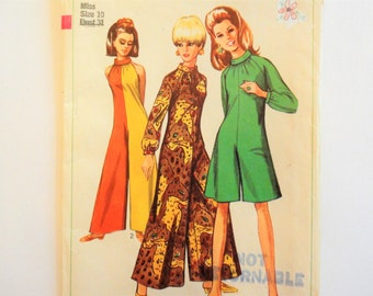 1960s Jumpsuit pattern, palazzo pants, go go costume, sleeveless pantdress, vintage sewing pattern, Simplicity 7359, misses size 10 bust 31