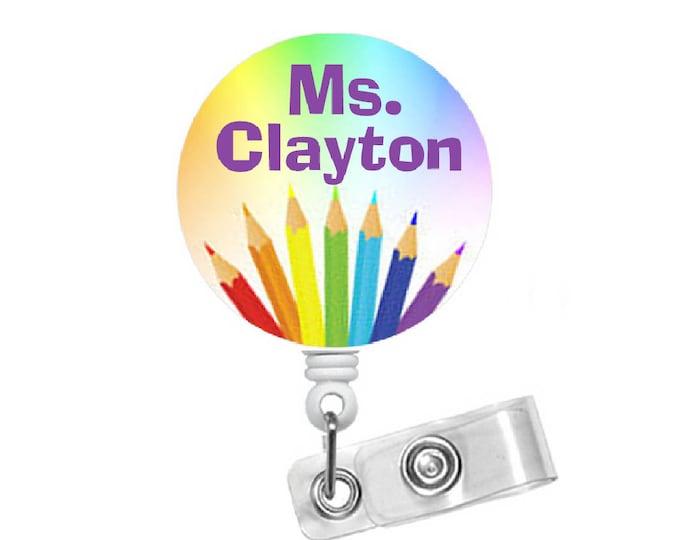 Personalized Teacher ID Badge Holder - School Badge Reel - Name Badge - Cute Badge Reel - Teacher Badge Holder - Teacher Appreciation Gift