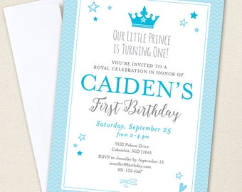 Prince Party Invitations - Professionally printed *or* DIY printable