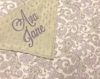 Lavender PaisleyPersonalized Embroidered Minky Backed Baby Blanket -Choose size and font!