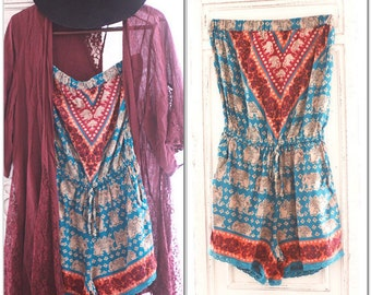 Festival Romper, music festival, burning man india elephant print romper hippie Music festival trends Boho Spell n gypsy True rebel clothing